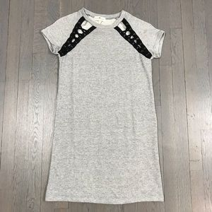derek heart Lace Up Short Sleeve Sweatshirt Dress